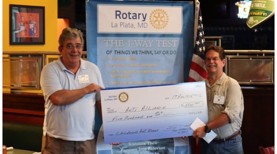 La Plata Rotary Club Check Presentation 8.19.2015